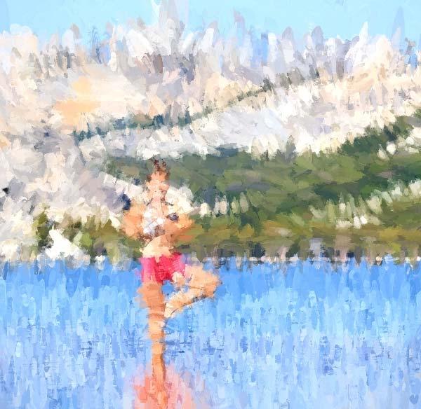 Yoga Tree Pose in a Lake